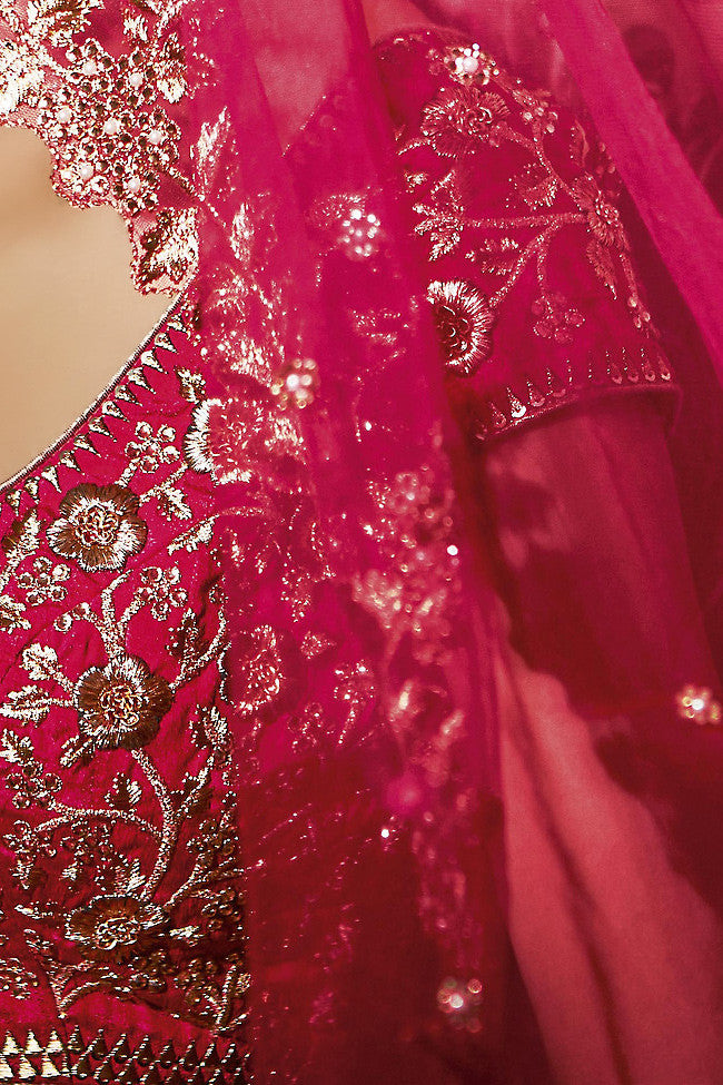 Buy Rani Pink Silk and Net Wedding Lehenga Online at indi.fashion