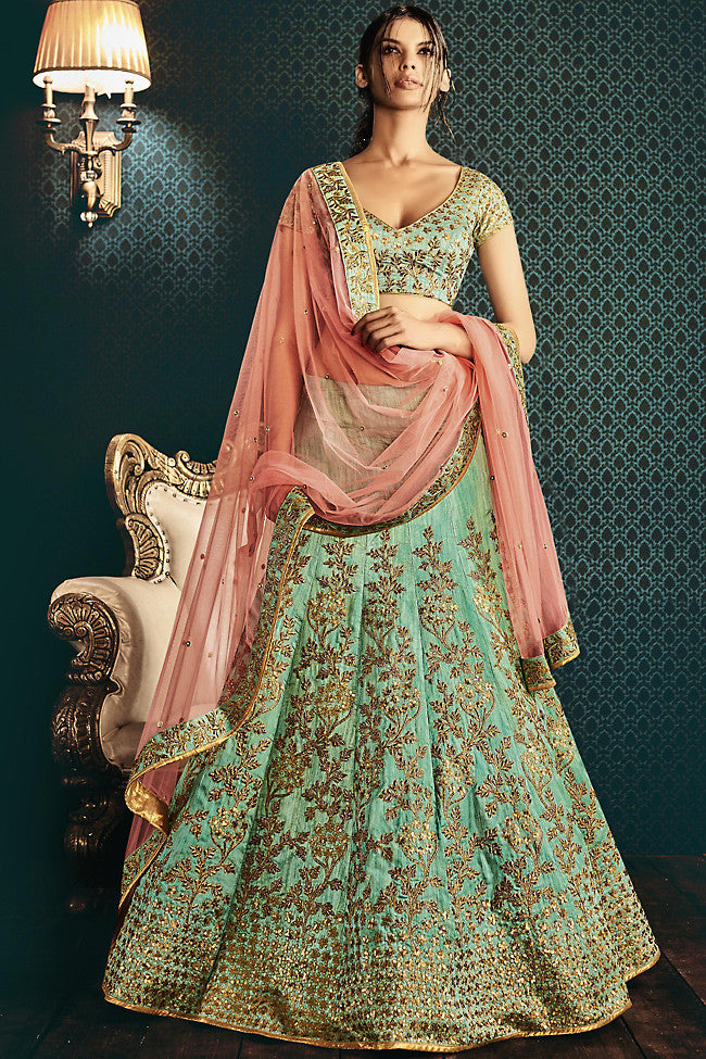 Buy Sea Green and Peach Silk and Net Wedding Lehenga Online at indi.fashion