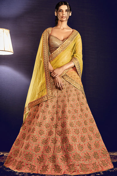 Buy Gold Yellow and Peach Lurex and Silk Wedding Lehenga Online at indi.fashion