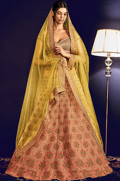 Indi Fashion Gold Yellow and Peach Lurex and Silk Wedding Lehenga