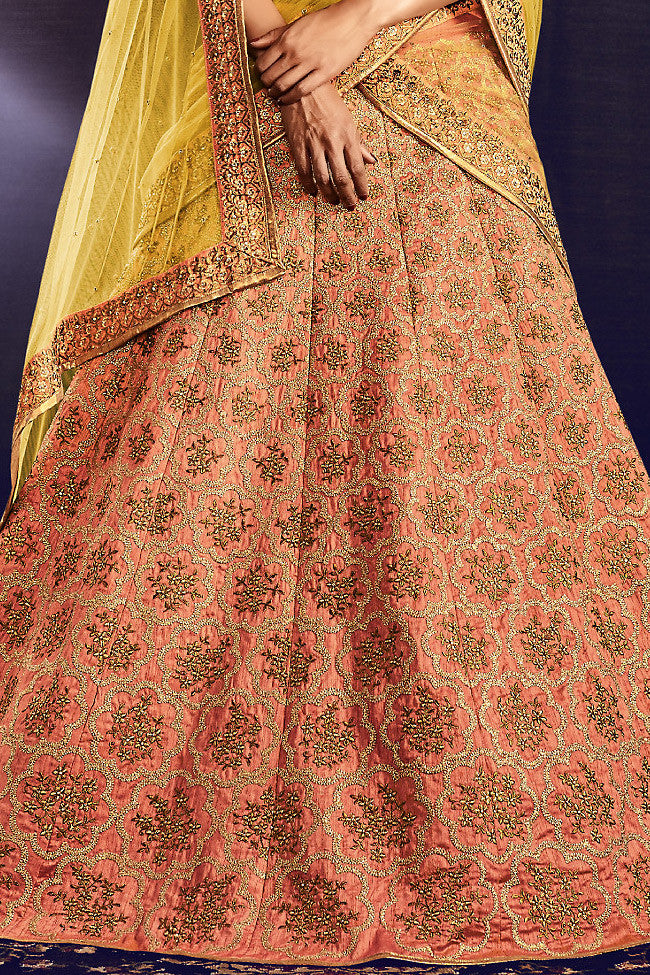 Gold Yellow and Peach Lurex and Silk Wedding Lehenga