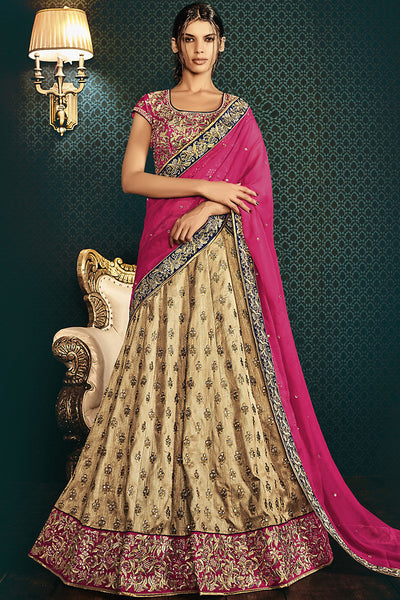 Buy Rani Pink and Beige Silk Wedding Lehenga Online at indi.fashion