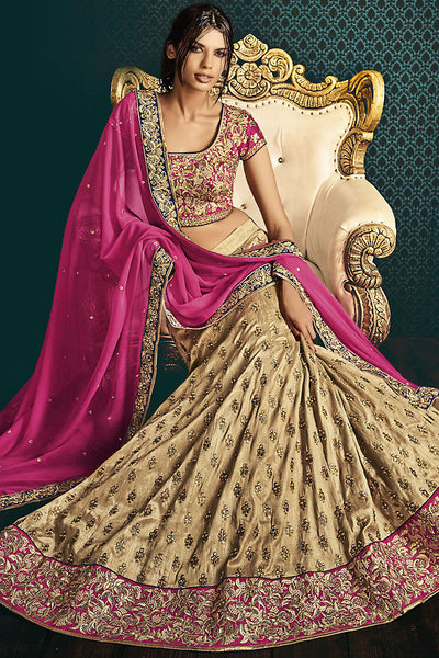Indi Fashion Rani Pinka and Beige Silk Wedding Lehenga