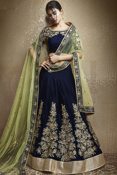 Buy Navy Blue and Pista Green Velvet Wedding Lehenga Online at indi.fashion