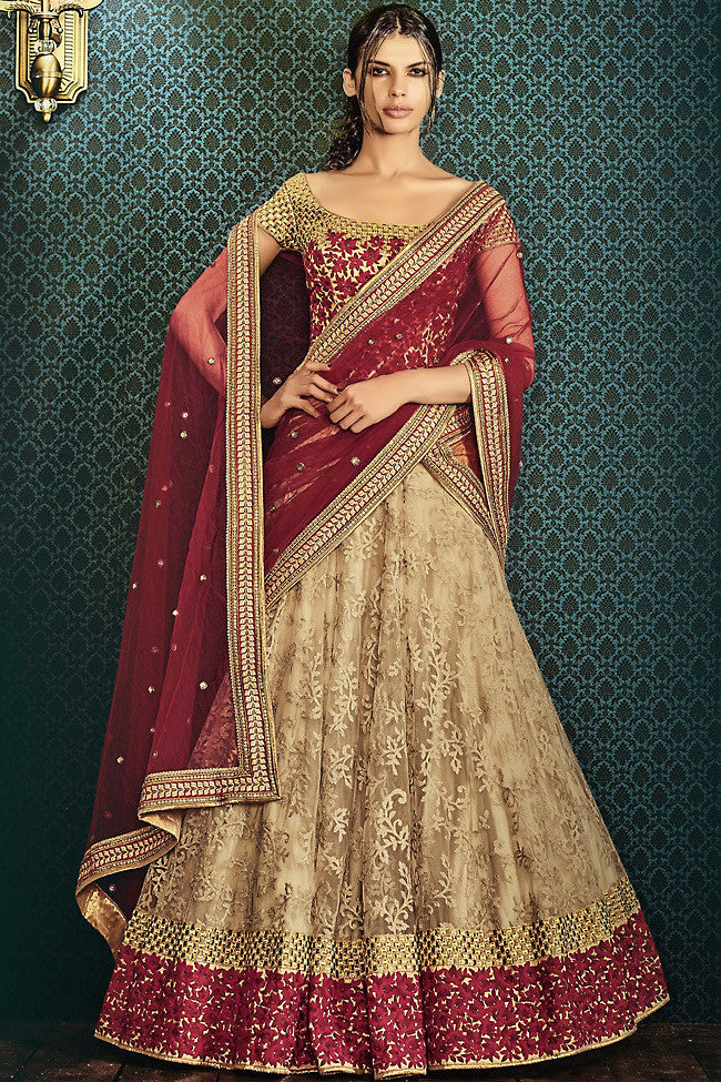 Buy Beige and Maroon Silk and Net Wedding Lehenga Online at indi.fashion