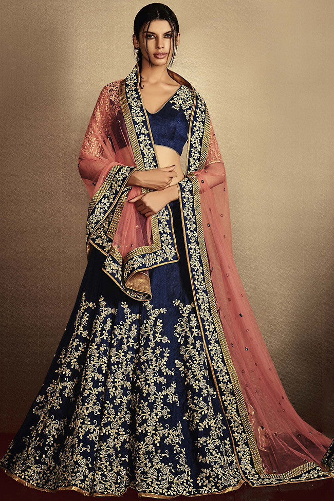 Buy Navy Blue and Peach Silk Wedding Lehenga Online at indi.fashion