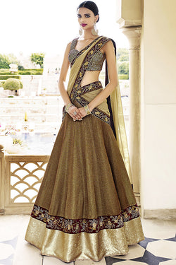 Indi Fashion Copper and Gold Art Silk Three Piece Bridal Lehenga Set
