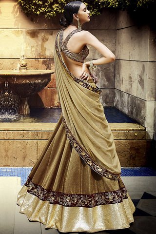 Buy Copper and Gold Art Silk Three Piece Bridal Lehenga Set Online at indi.fashion
