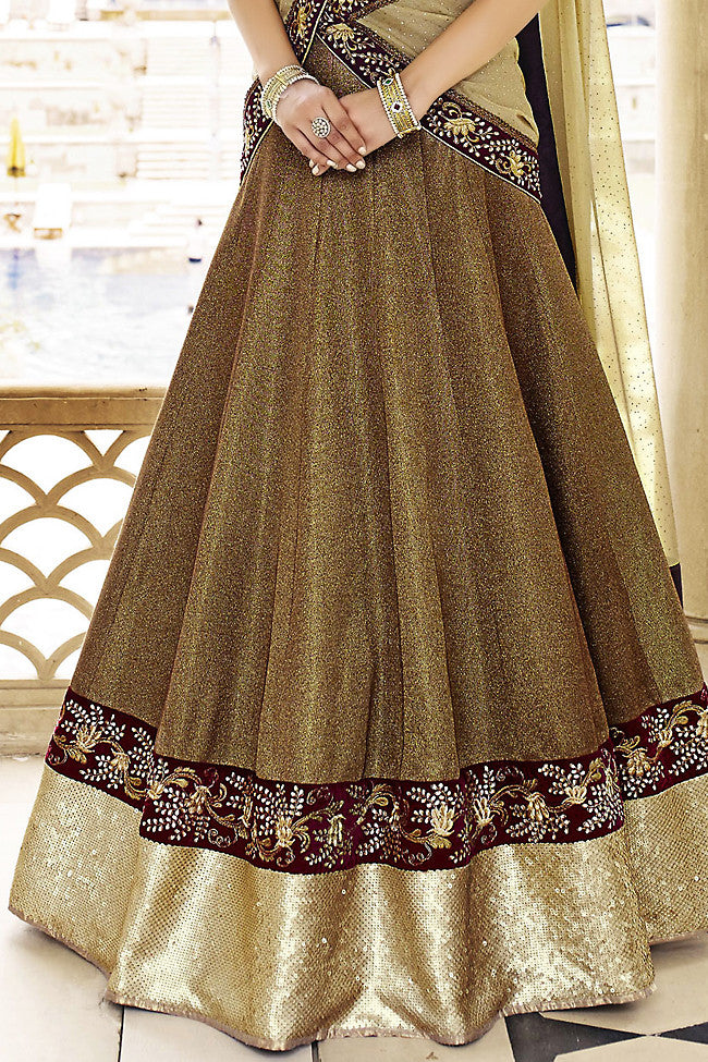 Copper and Gold Art Silk Three Piece Bridal Lehenga Set