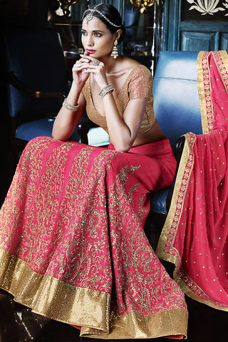 Buy Pink and Gold Georgette Three Piece Bridal Lehenga Set Online at indi.fashion