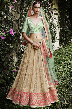 Indi Fashion Sea Green Beige and Pink Net Three Piece Bridal Lehenga Set