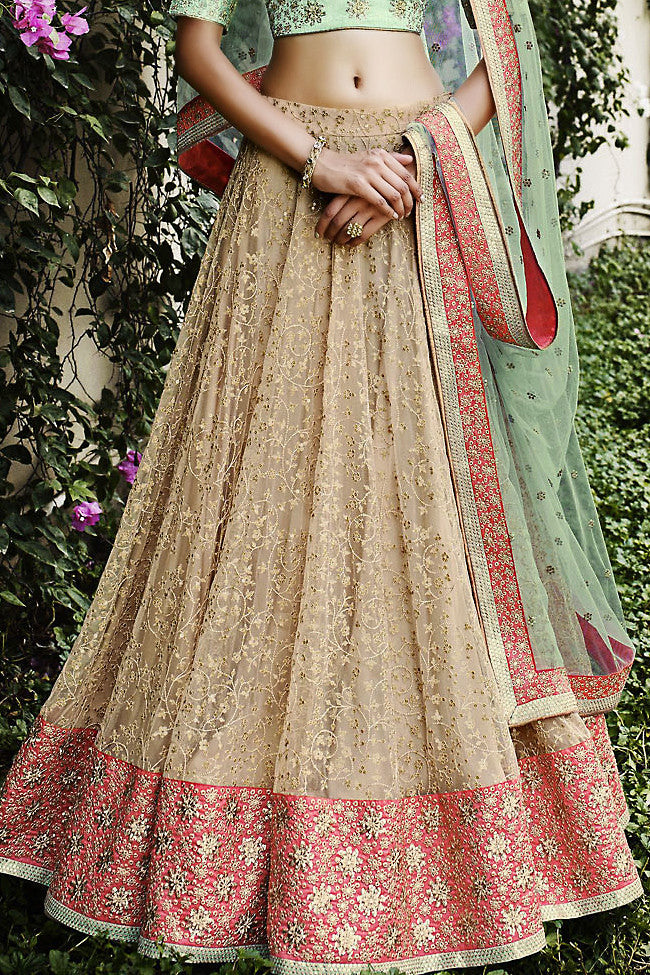 Sea Green Beige and Pink Net Three Piece Bridal Lehenga Set