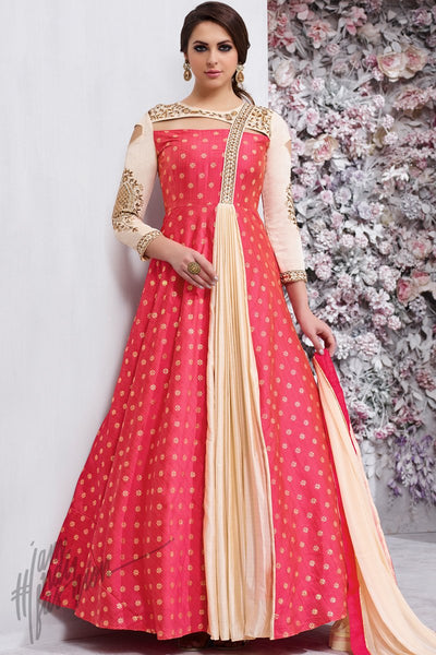 Indi Fashion Red and Off White Taffeta Silk party Wear Suit