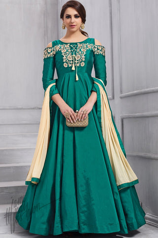 Indi Fashion Ocean Green Taffeta Silk party Wear Suit
