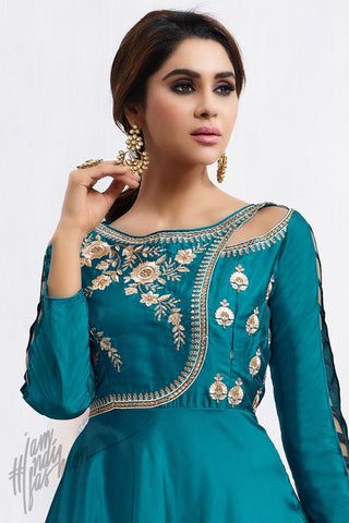 Indi Fashion Greenish and Denim Blue Taffeta Silk party Wear Suit