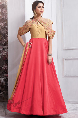 Indi Fashion Rose Pink and Beige Taffeta Silk party Wear Suit