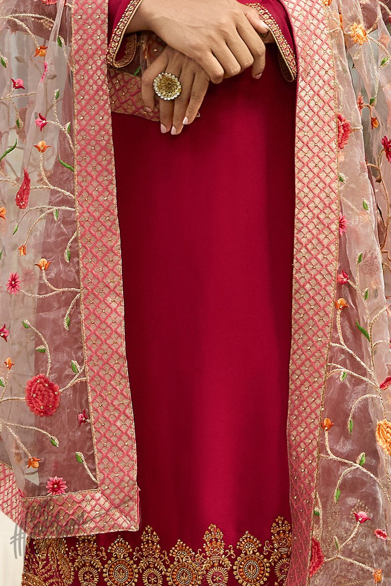 Cranberry and Pink Satin Georgette Palazzo Suit