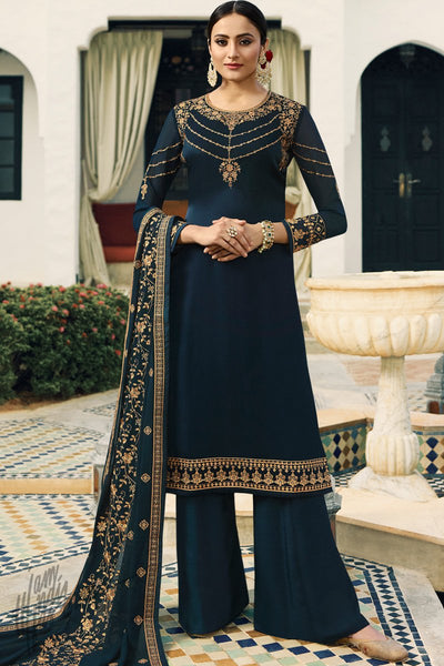 Dark Blue Satin Georgette Palazzo Suit