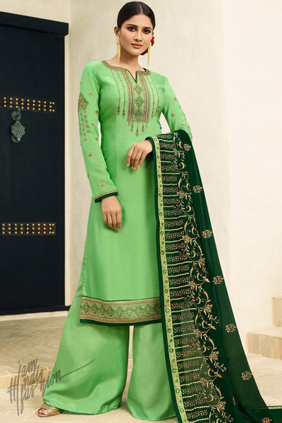 Parrot and Bottle Green Satin Georgette Palazzo Suit