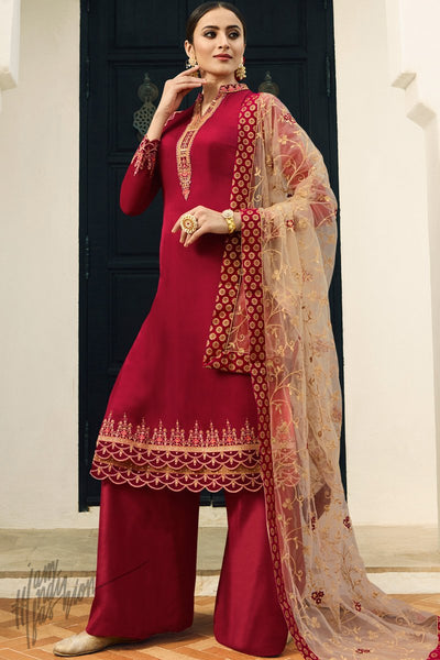 Scarlet Red and Beige Satin Georgette Palazzo Suit