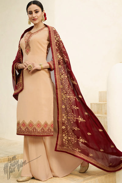 Light Peach and Plum Purple Satin Georgette Palazzo Suit