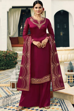Mulberry Purple Satin Georgette Palazzo Suit