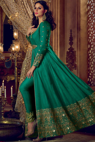 Indi Fashion Green and Beige Silk Lehenga Style Suit with Pants