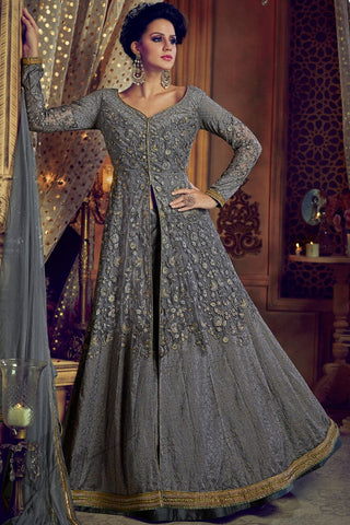 Indi Fashion Dark Gray Net and Silk Lehenga Style Suit with Pants