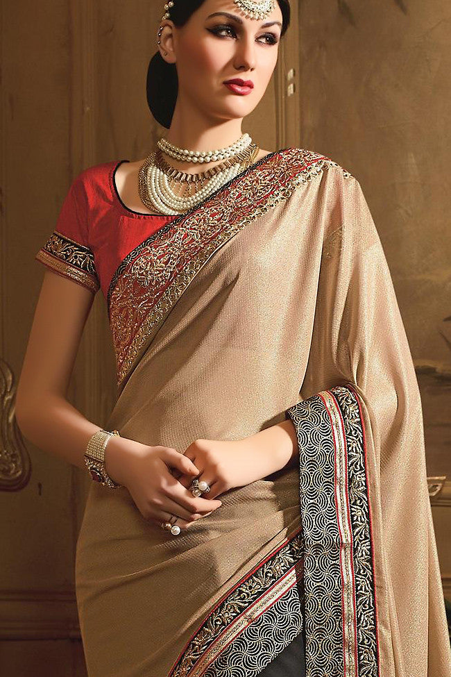 Buy Black and Beige Georgette Designer Saree Online at indi.fashion