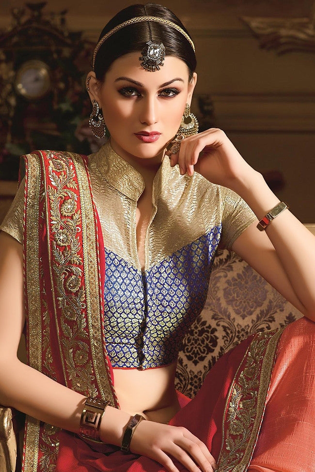 Buy Red and Orange Georgette Designer Saree Online at indi.fashion