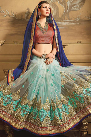 Indi Fashion Navy and Sky Blue Georgette Designer Saree