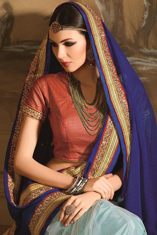 Buy Navy and Sky Blue Georgette Designer Saree Online at indi.fashion