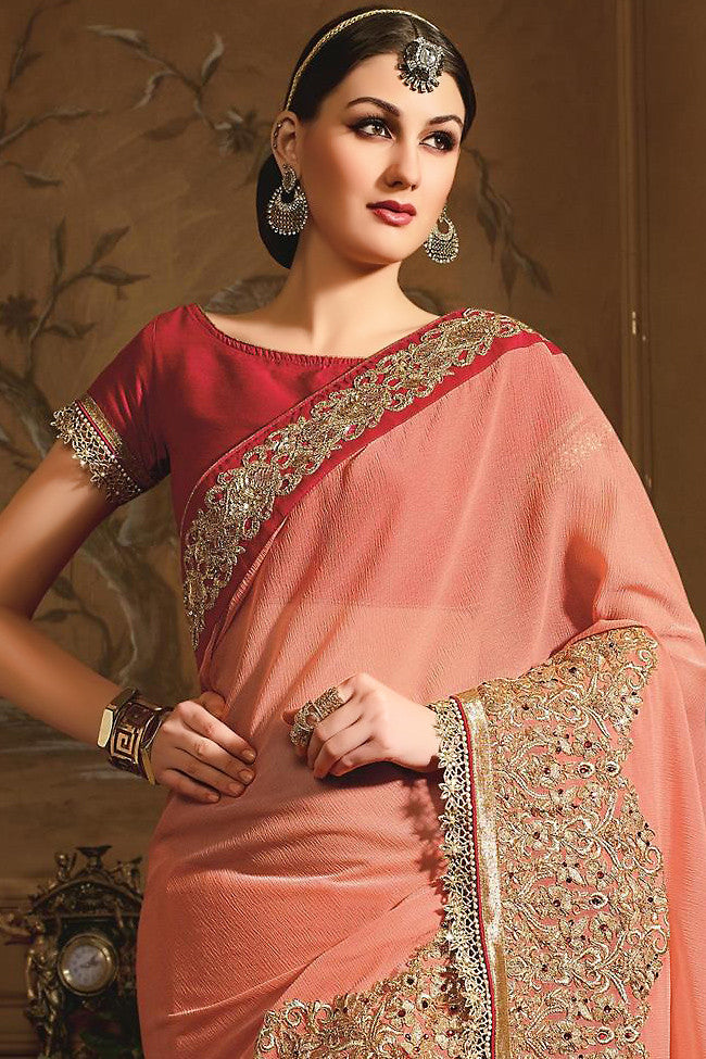 Buy Peach and Red Designer Saree Online at indi.fashion