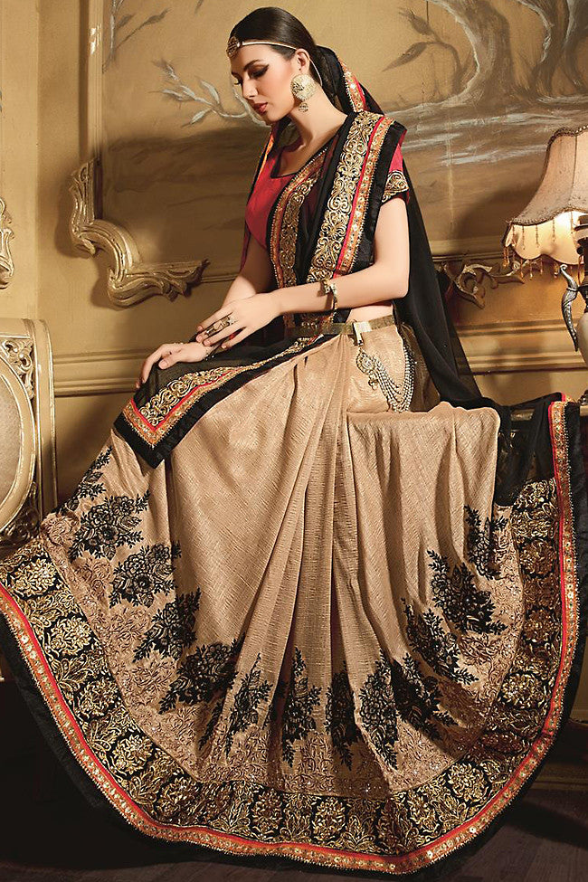 Buy Beige and Black Georgette Designer Saree Online at indi.fashion