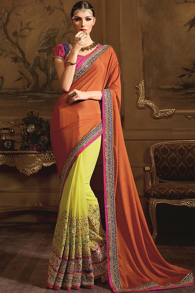 Buy Rust and Yellow Georgette Designer Saree Online at indi.fashion