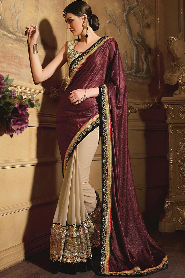 Indi Fashion Copper and Beige Georgette Designer Saree