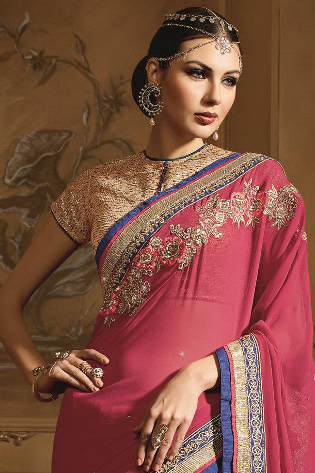 Indi Fashion Pink and Mustard Georgette Designer Saree