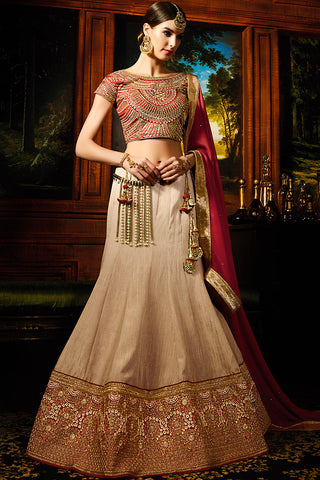 Indi Fashion Beige Red and Gold Silk Wedding Lahenga Set