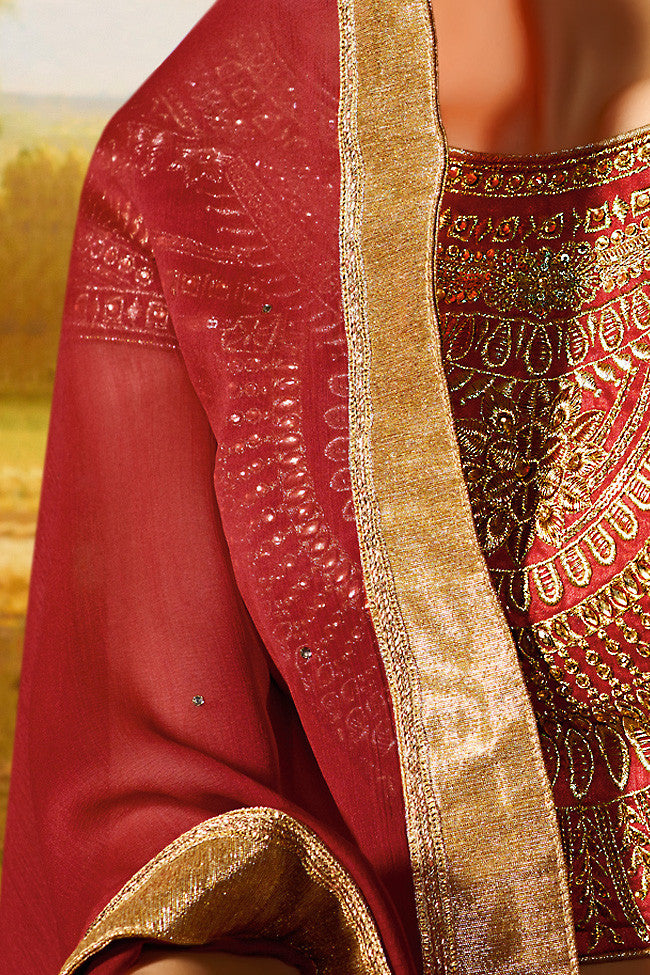 Buy Beige Red and Gold Silk Wedding Lahenga Set Online at indi.fashion