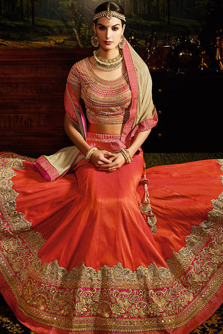 Indi Fashion Orange Red and Gold Silk Wedding Lahenga Set