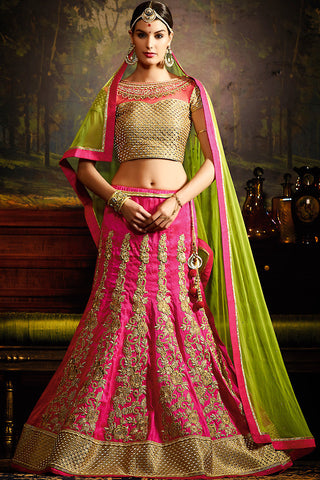 Indi Fashion Pink Beige and Green Silk Wedding Lahenga Set