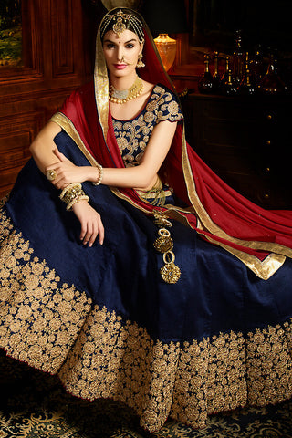 Indi Fashion Navy Blue Red and Gold Silk Wedding Lahenga Set