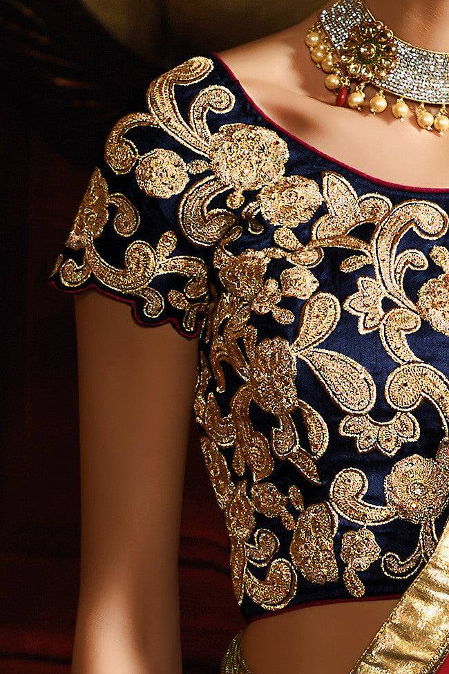 Buy Navy Blue Red and Gold Silk Wedding Lahenga Set Online at indi.fashion