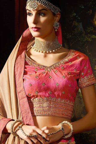 Indi Fashion Pink Gold and Beige Silk Wedding Lahenga Set