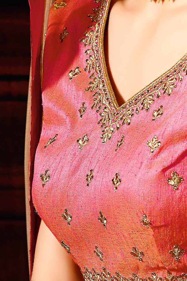 Buy Pink Gold and Beige Silk Wedding Lahenga Set Online at indi.fashion