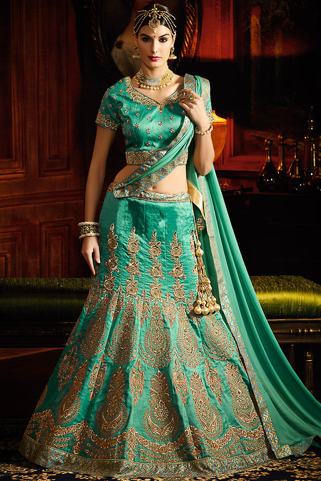 Buy Sea Green and Gold Silk Wedding Lahenga Set Online at indi.fashion