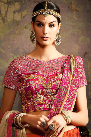 Indi Fashion Orange Pink and Gold Shaded Silk Wedding Lahenga Set
