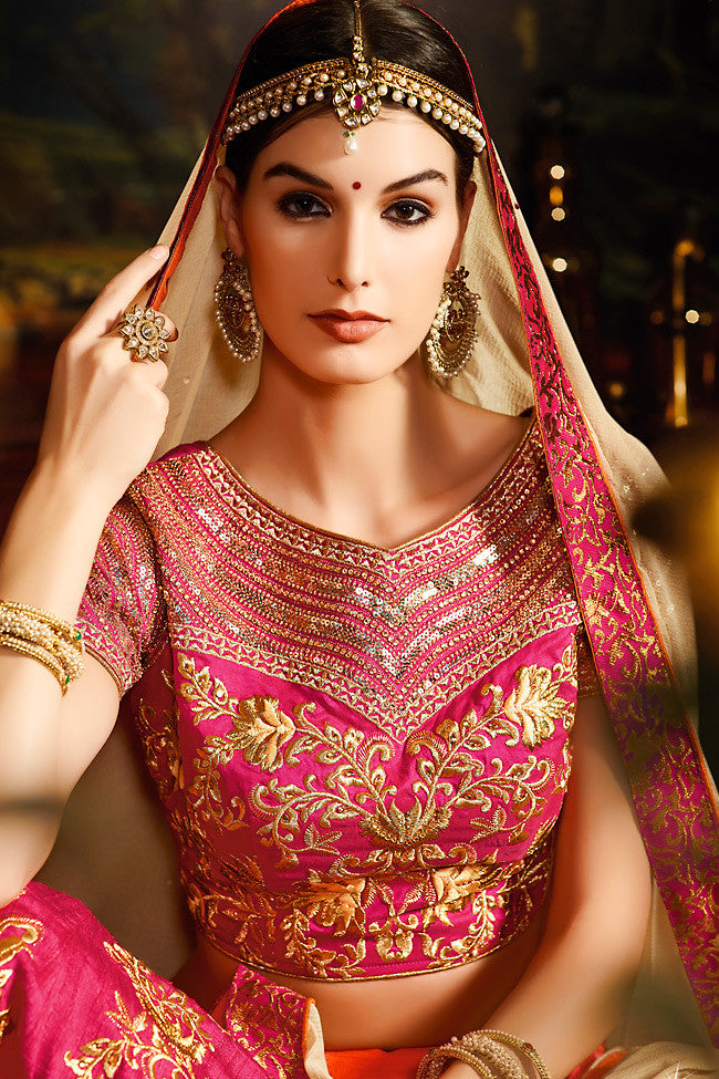 Buy Orange Pink and Gold Shaded Silk Wedding Lahenga Set Online at indi.fashion