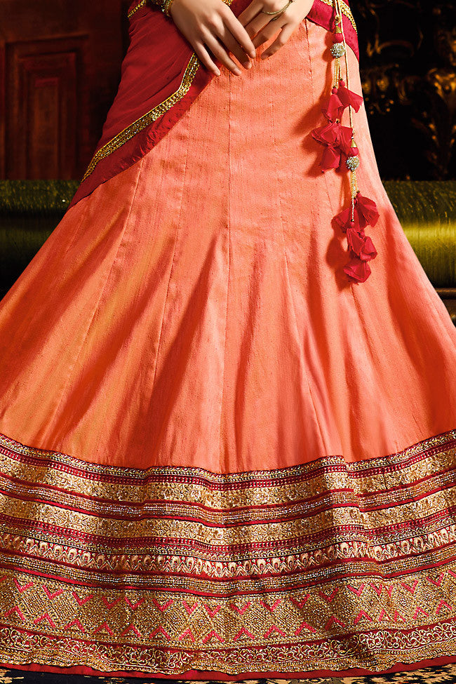 Buy Peach Red and Gold Silk Wedding Lahenga Set Online at indi.fashion