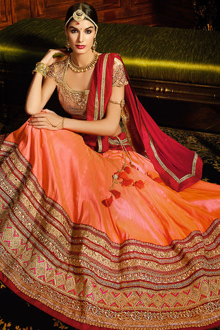Indi Fashion Peach Red and Gold Silk Wedding Lahenga Set